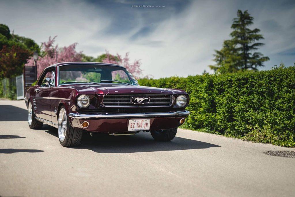 Les plaques de l'Alberta finissent très bien la ligne épurée et sportive de cette Mustang