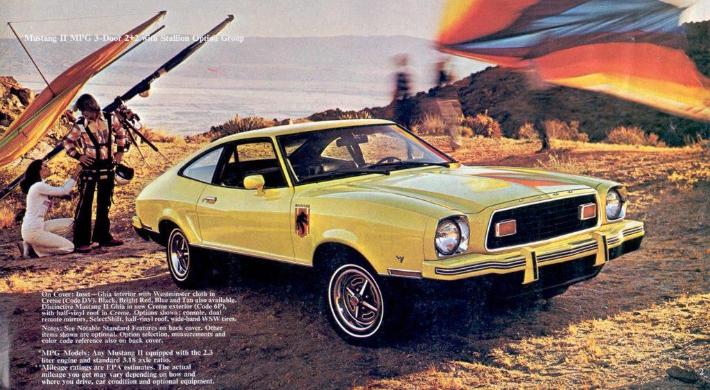 Publicité pour une Mustang II Stallion jaune