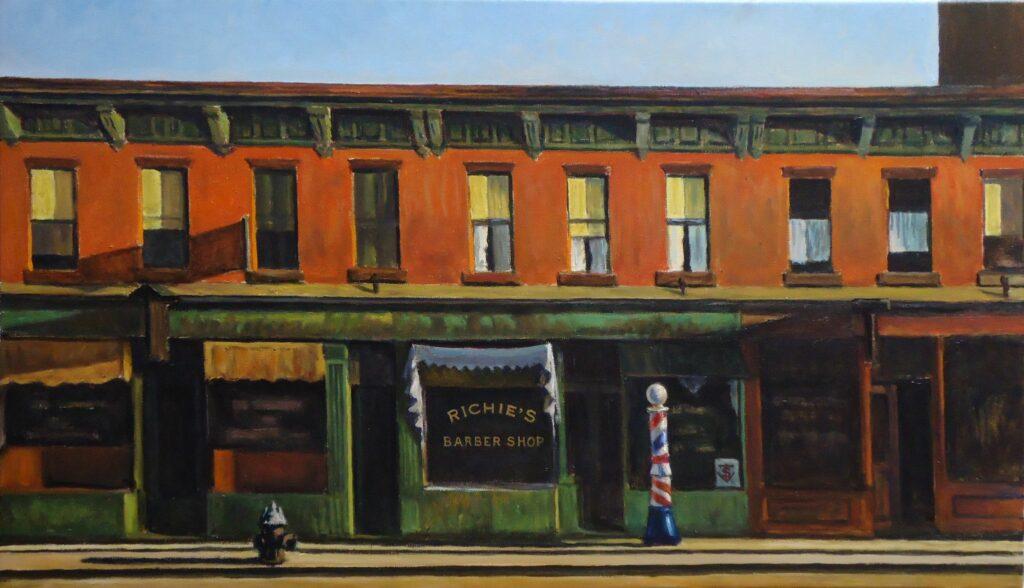 Tôt un dimanche matin (Early Sunday Morning) de Edward Hopper, reproduction que l'auteur possède dans sa cuisine
